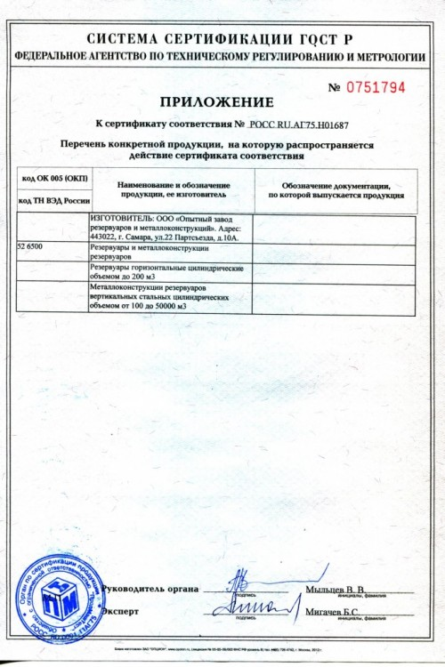Сертификат на резервуары